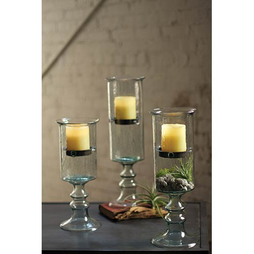 Kalalou Clear Mini Glass Candle Cylinder with Insert on a Glass Pedestal, Medium Only