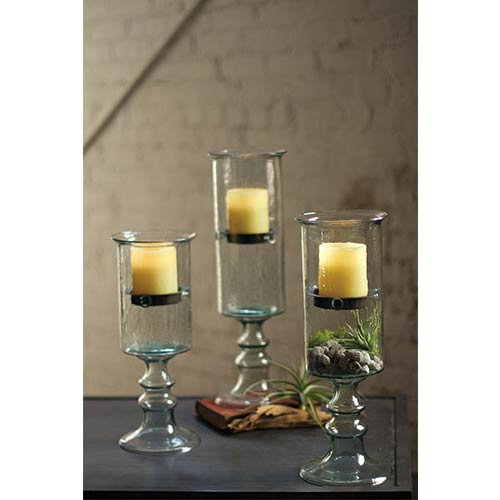 Kalalou Clear Mini Glass Candle Cylinder with Insert on a Glass Pedestal, Small Only