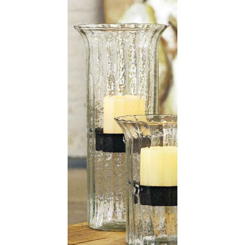 Kalalou Large Ribbed Glass Candle Cylinder with Rustic Insert