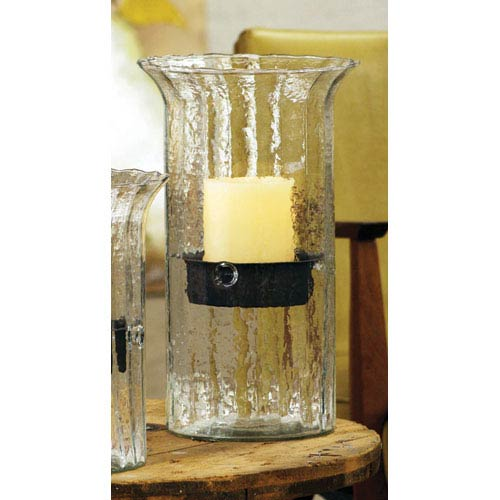 Kalalou Medium Ribbed Glass Candle Cylinder with Rustic Insert