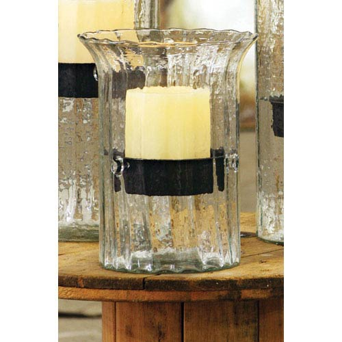 Kalalou Small Ribbed Glass Candle Cylinder with Rustic Insert