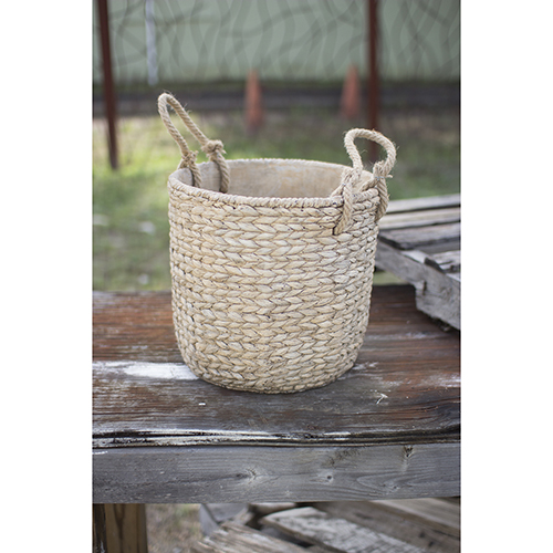 Large Braided Cement Planter with Jute Handles-Natural