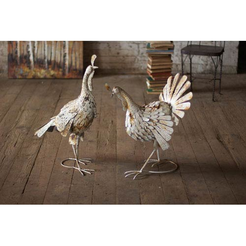 Antique Distressed White 25-Inch Metal Turkey, Set of 2
