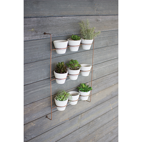 Kalalou Set of 9 White Wash Clay Pots On Copper Finish Wall Rack