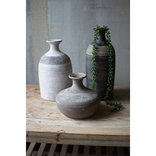 Set of Three Black Grey And White Clay Vessels