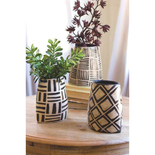Kalalou Black and White Oval Vases with Geometric Design, Set of Three