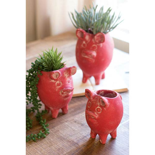Red Tall Clay Pig Planters, Set of Three