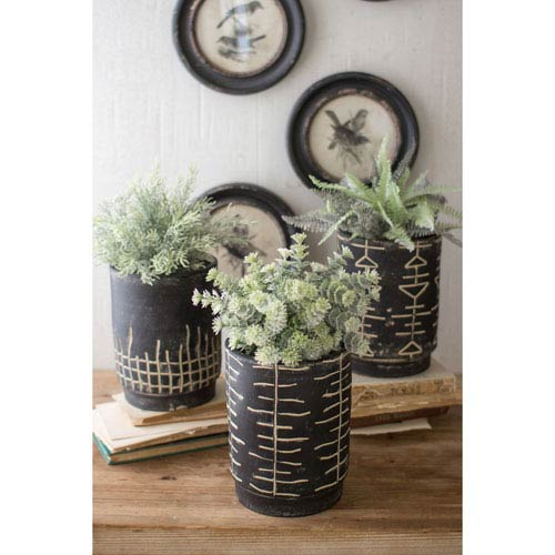 Black and White Clay Planters, Set of Three