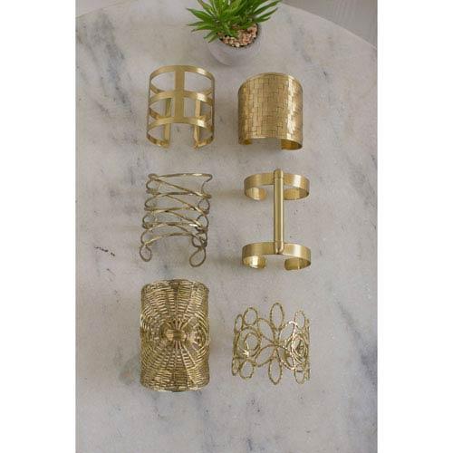 Assorted Brass Cuffs, Set of Six