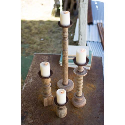 Kalalou Recycled Turned Wood Candle Holders, Set of Four