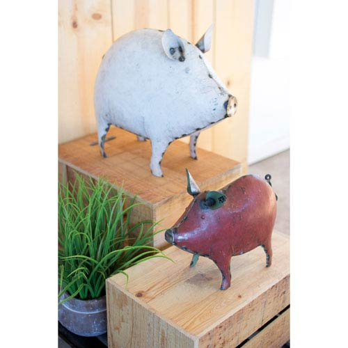 Recycled Metal Red Pig
