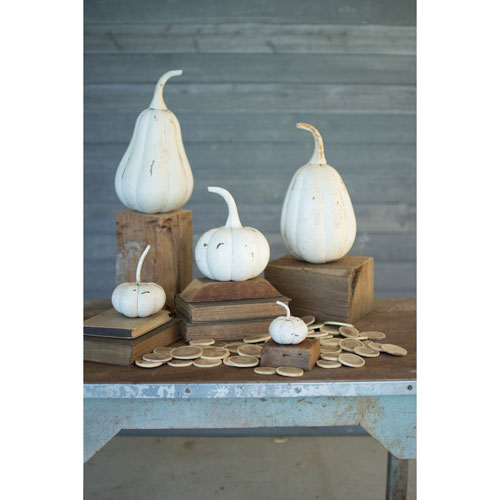 Kalalou Distressed White Recycled Iron Pumpkins, Set of Five