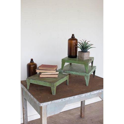 Antique Green Metal Display Risers, Set of Three