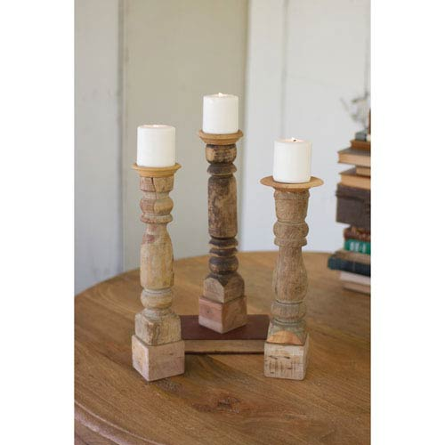 Kalalou Assorted Wooden Reclaimed Banister Candle Stand, Set of Three