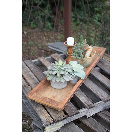 Kalalou Reclaimed Wooden Rectangle Tray
