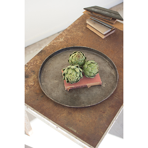 Round Rustic Galvanized Tray