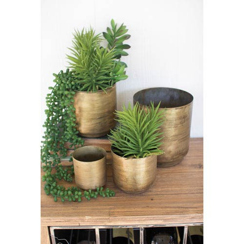 Aged Brass Finish Metal Flower Pots, Set of Four