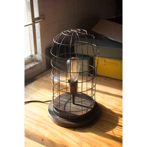 Old Brass Wire Cage Desk Lamp