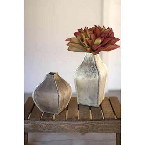 Set of Two Metal Vases - Vintage Silver