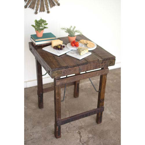 Recycled Wooden Side Table with Folding Legs