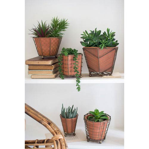 Terracotta Planters with Wire Wrap, Set of Five