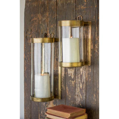 Glass and Antique Brass Finished Wall Mounted Hurricane Small