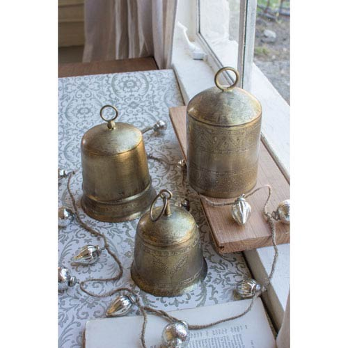 Assorted Antique Brass Finish Bells, Set of Three