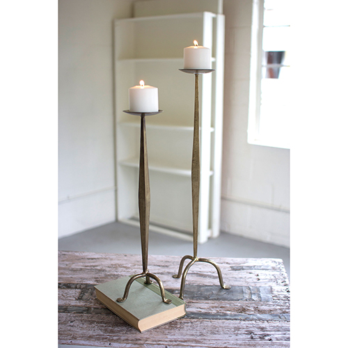 Set of Two Antique Brass Candle Stands