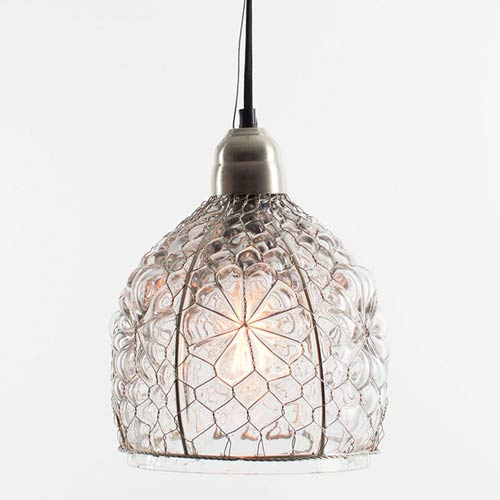 Kalalou Electric Mini Pendant w/ Eight-Inch Diameter Glass shade