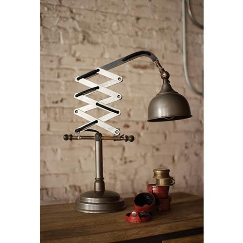 Raw Metal Vertical Scissor Table Lamp