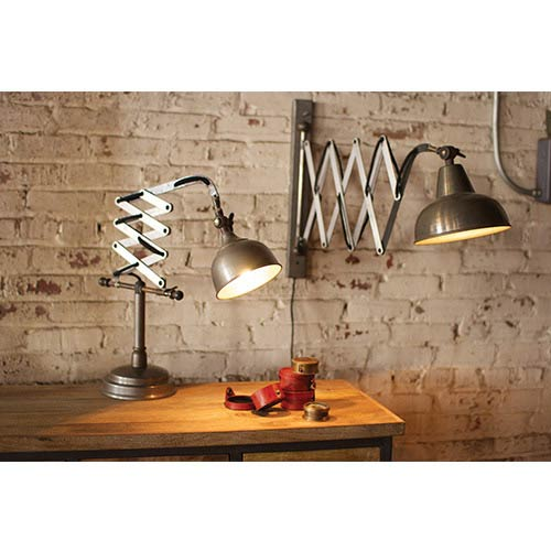 Raw Metal Scissor Wall Lamp Only