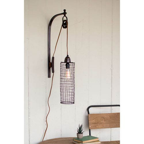 Wire Cylinder One-Light Wall Lamp With Pulley