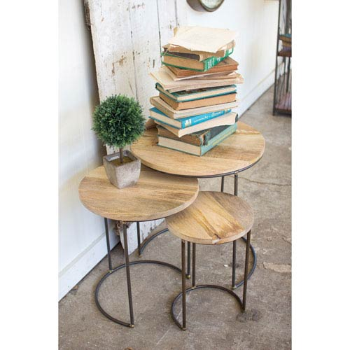 Nesting Iron Accent Tables with Mango Wood Tops, Set of Three
