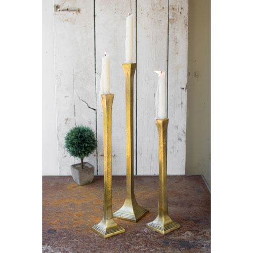 Antique Brass Tall Taper Candle Holders, Set of Three