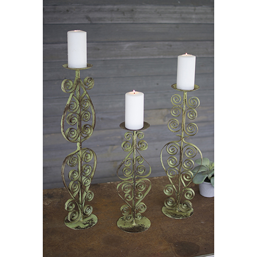 Set of Three Antique Green Iron Candle Stands
