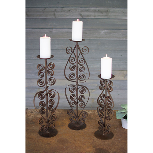 Set of Three Rustic Metal Candle Stands