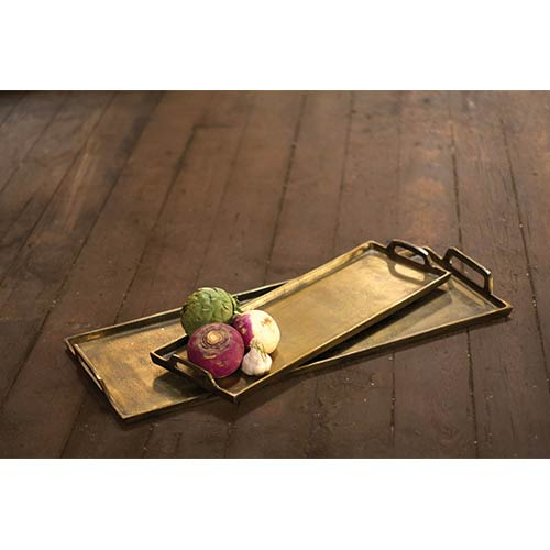 Kalalou Antique Brass Large Aluminum Rectangle Platter