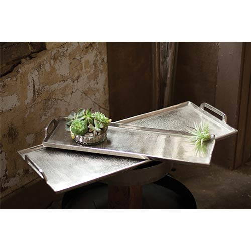 Kalalou Antique Silver Large Aluminum Rectangle Platter