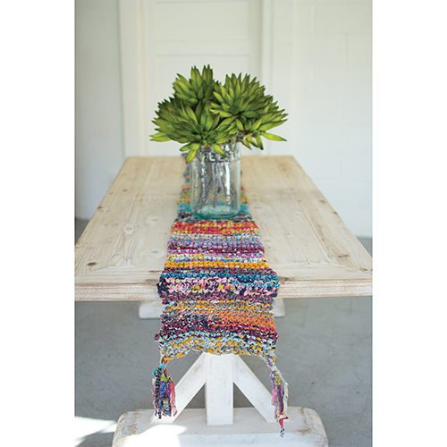 Kalalou Knitted Kantha Runner with Tassels