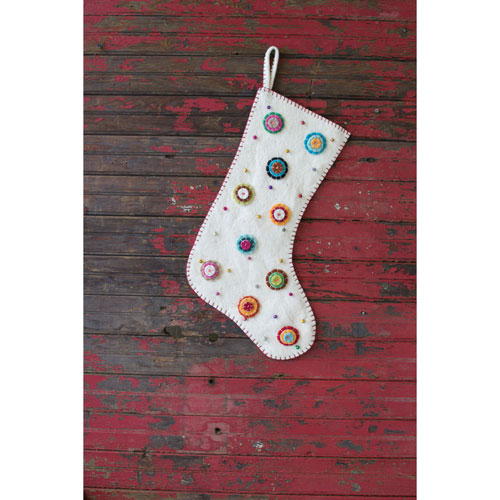 Felt Ivory Stocking with Button Flowers