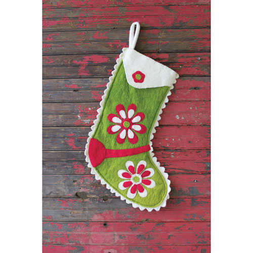 Felt Green Stocking with Red and Ivory Flowers
