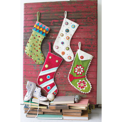 Red with Felt Dots and Stripes Stocking