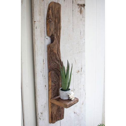 Kalalou Tall Recycled Wood Wall Shelf