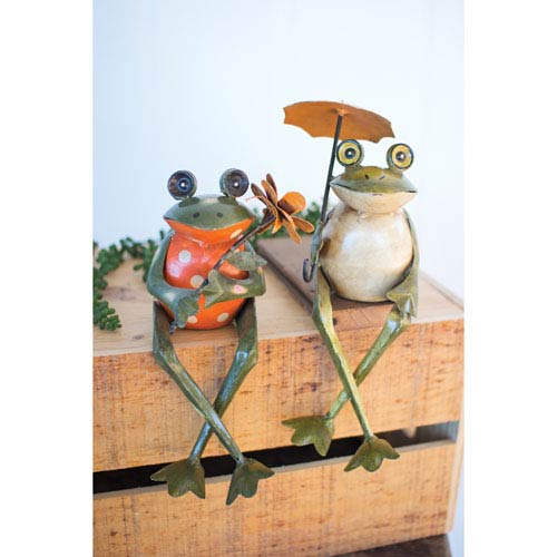 Recycled Metal Frog Shelf Sitters, Set of Two