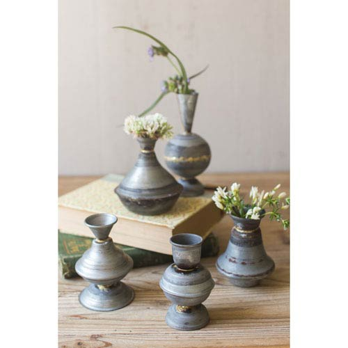 Zinc Taper Candle Holders with Beaded Brass Detail, Set of Five