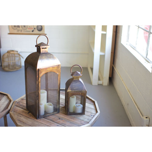 Antique Bronze Lanterns, Set of Two