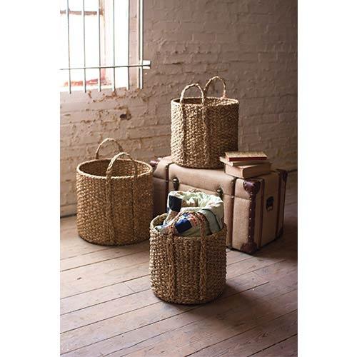 Kalalou Seagrass Round Braided Storage Basket with Handle, Set of 3