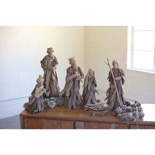 Driftwood Nativity Set, Six Piece Set