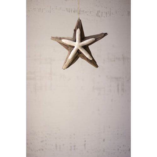 Kalalou Driftwood Star with Starfish Detail and Jute Hanger, Set of Four