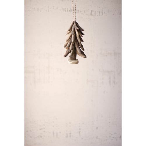 Driftwood Tree Christmas Ornament, Set of Four